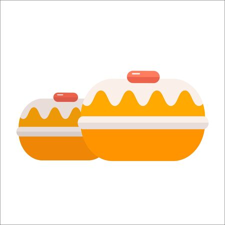 Doughnut or donut vector icon illustration. Fried ring dough nut confectionary in flat design. Bakery product symbol.