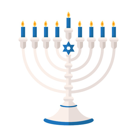 Menorah 9 candle candelabrum vector illustration. Holiday of Hanukkah element. Jewish symbol for celebration of Chanukah or Festival of Lights. Feast of Dedication lamp icon or festivity item. Illustration