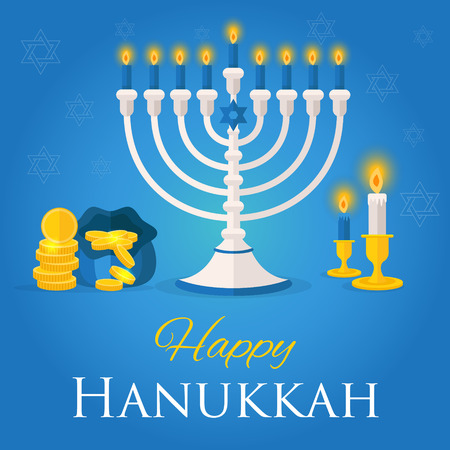 dedication: Holiday of Hanukkah web banner. Jewish symbols for celebration of Chanukah or Festival of Lights. Feast of Dedication icon or festivity background. Vector illustration for social media website ad.
