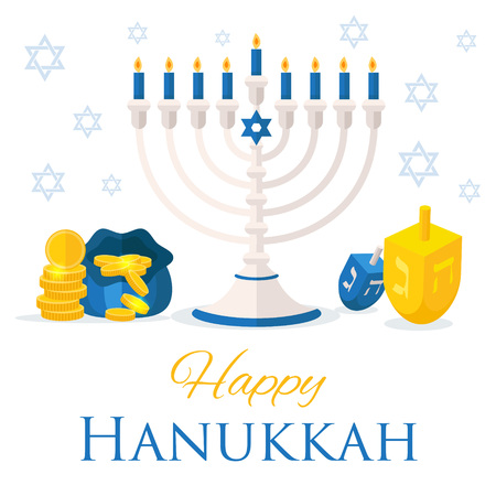 Holiday of Hanukkah web banner. Jewish symbols for celebration of Chanukah or Festival of Lights. Feast of Dedication icon or festivity . Vector illustration for social media website ad.