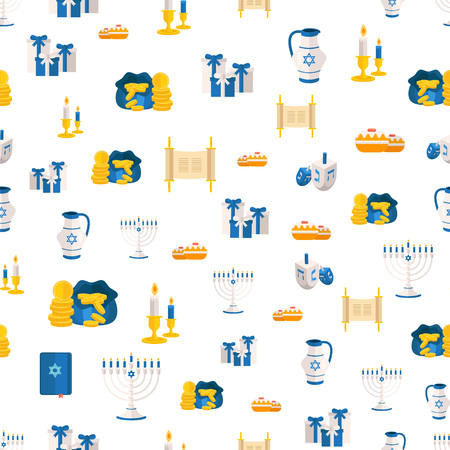Holiday of Hanukkah web banner seamless pattern. Jewish symbols print for celebration of Chanukah or Festival of Lights. Feast of Dedication embellishment or festivity vector background for social media website ad. Illustration