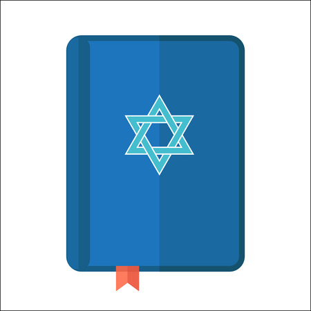 Torah or Pentateuch vector illustration. Holiday of Hanukkah element. Jewish symbol for celebration of Chanukah or Festival of Lights. Feast of Dedication icon or festivity item.