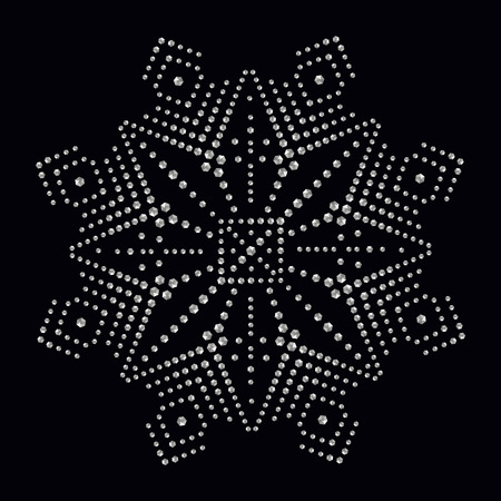 Rhinestone applique print for textile clothes in fashion luxury design. Trendy vector crystal studs embellishment with brilliants for apparel. Jewelry ornament embroidery for t-shirt hotfix transfer. Reklamní fotografie - 69824645