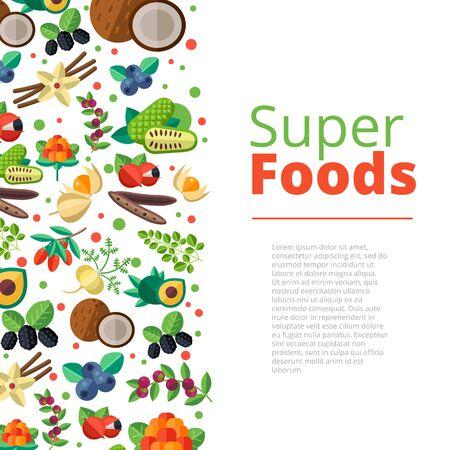 Superfood achtergrond met groenten, fruit, bessen, noten en zaden. Vector lay-out met een gezonde detox natuurlijke producten. Platte ontwerp biologisch voedsel banner.