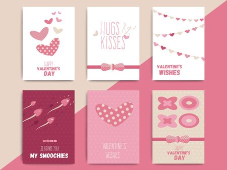 Happy valentine day postcard template set design. Love holiday poster or greeting card in funny cartoon style. Vector layout illustration.