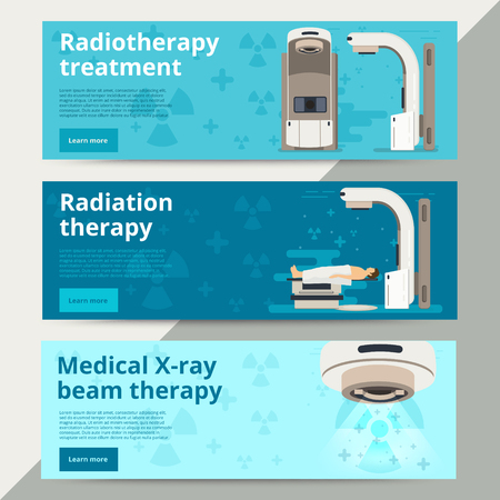 Radiation therapy vector web banners. Cancer treatment with radiotherapy. Oncology RT of cancerous tumor. Medical x-ray beam therapy with linear accelerator. Medicine background for website ad.