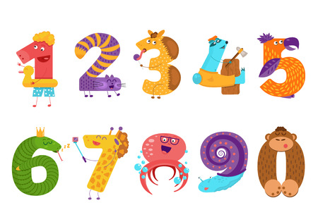 Set of cartoon animal numbers in flat style design. Collection of numerals for kids learning counting or mathematics. Wild monsters for children studying arithmetics. Vettoriali