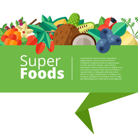 Superfood background with fruits, vegetables, berries, nuts and seeds. Vector layout with healthy detox natural products. Flat design organic food banner.