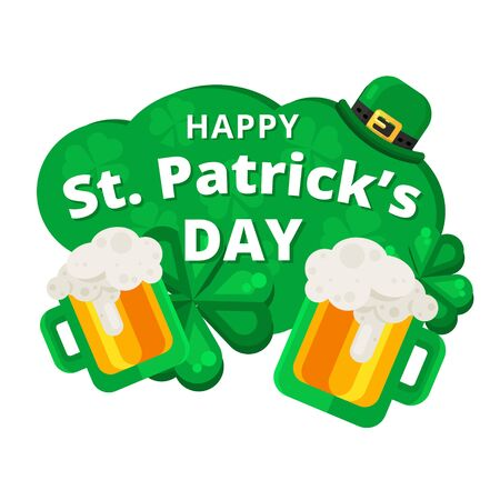 patrik: St. or Saint Patricks day vector design. La Fheile Padraig holiday banner layout. Greeting letter or postcard element with Irish symbols. Party or event headline template with text.