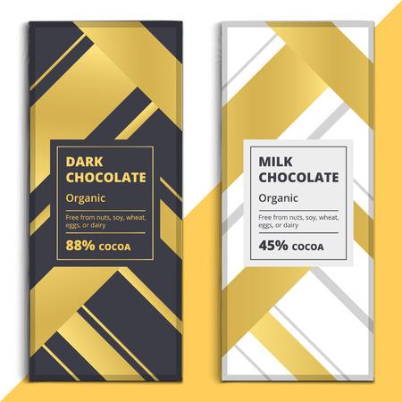 Dark organique et la conception lait barre de chocolat. Choco emballage vecteur maquette. Trendy produit de luxe modèle de la marque avec l'étiquette et motif géométrique Banque d'images - 71315139