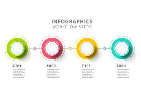 circle infographics elements design abstract business workflow presentation with linear icons steps on timeline