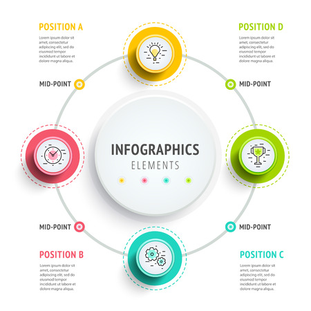 Circle infographics elements design. Abstract business workflow presentation with linear icons. Steps on timeline or job options in 3D style. Best for commercial slideshow or website landing interface.