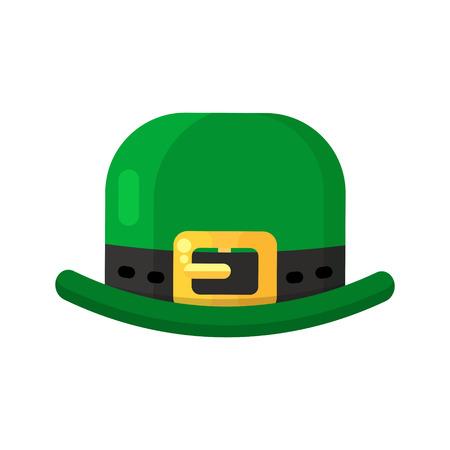 patrik: Irish green hat icon in flat style design. St. Patrick Day leprechaun headgear.