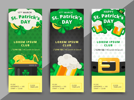 St. or Saint Patricks day vector flyer template design. La Fheile Padraig banner. Greeting letter or postcard element with Irish symbols. Holiday club event admission or entrance ticket layout. Illustration
