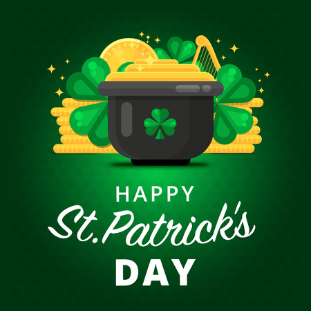 St. or Saint Patricks day vector background design. La Fheile Padraig holiday banner layout. Greeting letter or postcard element with Irish symbols. Party or event headline template with text. Illustration