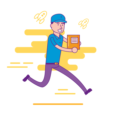 package deliverer: Logistics company courier or delivery man character running in a hurry with parcel. Postman or post office worker delivering mailboxes. Vector flat cartoon illustration.