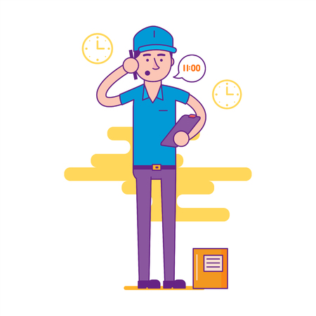 deliverer: Logistics company courier or delivery man character standing with parcel and calling cell phone. Postman or post office worker deliver mailbox. Vector flat cartoon illustration.