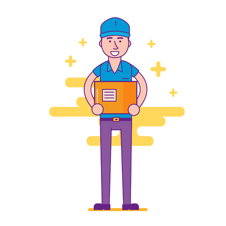 package deliverer: Cheerful logistics company courier or delivery man character holding parcel in hands and smiling. Happy postman or post office worker deliver mailbox. Vector flat cartoon illustration. Illustration