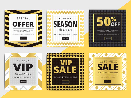 Creative luxury square social media web banners for cell phone or newsletter ad. Email promotion or sale background for online shop, store. Promotional offer flyer layout. Vector template design.  イラスト・ベクター素材