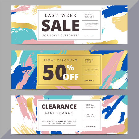 Creative luxury abstract social media web banners for website header or newsletter ad. Email promotion or sale background for online shop, store. Promotional offer flyer layout. Vector template design.