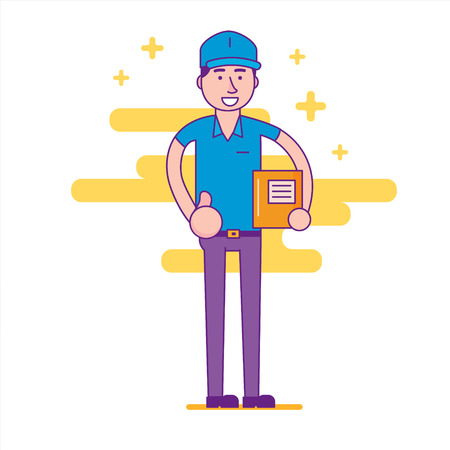 deliverer: Logistics company courier or delivery man in standing and showing thumb up. Postman or post office worker delivering mailboxes. Vector flat cartoon illustration.