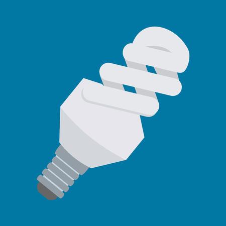 Icono de vector de bombilla de luz eléctrica en el diseño de estilo plano. Lámpara fluorescente compacta o símbolo CFL. Signo de tubo de luz de ahorro de energía.
