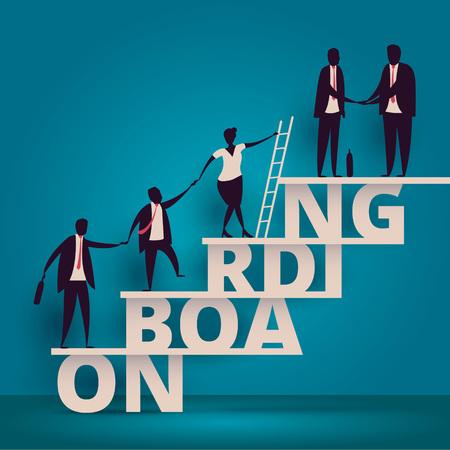 Koncepcja biznesu onboarding. HR manager zatrudniający pracowników lub pracowników do pracy. Rekrutacja personelu lub personelu w firmie. Ilustracje wektorowe
