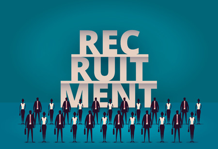 Business recruitment concept. HR manager hiring new employee or workers for job. Recruiting staff or personnel in their corporate company.