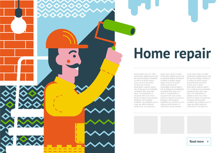 Renovation background concept. Repairman redecorating in room. Smiling worker making face-lift in flat or apartment. Paint decoration banner. Home improvement vector illustration. Illustration