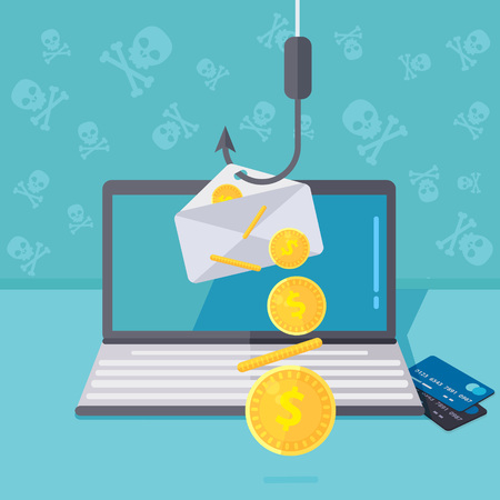 Phishing via internet vector concept illustration. Fishing by email spoofing or instant messaging. Hacking credit card or personal information through website. Cyber banking account attack. Online sucurity.
