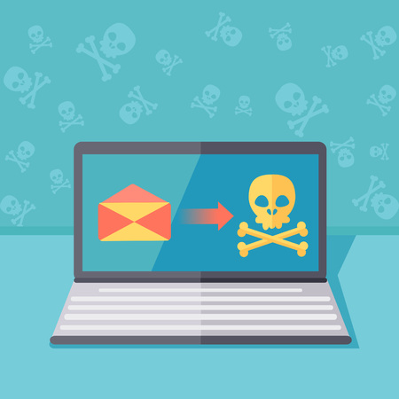 Ransomware protection or phishing security vector concept illustration. Hacking by email spoofing or instant messaging. Online computer virus threat and safety. Unsecured server fraud or attack.