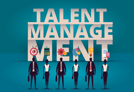 Business talent management concept. HR manager hiring employee or workers for job. Recruiting staff or personnel in company. Organizational socialization vector illustration. Acquisition or onboarding illustration. Illustration