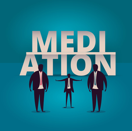 to compromise: Mediation concept. Mediator assists disputing parties. Resolving conflict or dispute resolution illustartion. Mediate businessman arbitrates or separates parties.