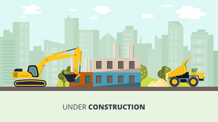 House construction vector illustration. Building process on cityscape background. Industry machinery with house foundation on street.