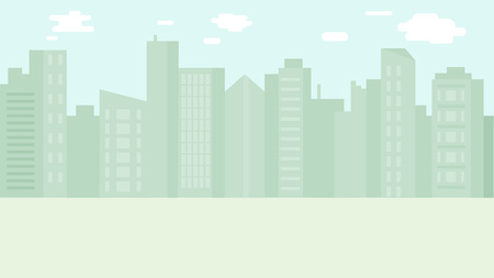 Seamsless city skyline background in flat style design. Cityscape or urban landscape layout. Skyscrapers and residential and office buildings silhouettes. Vector illustration.