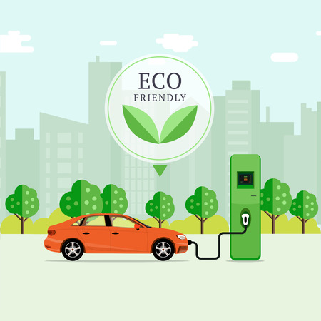 Eco friendly fuel concept. Electric car charging station. EV recharging point or EVSE. Plug-in vehicle getting energy from battery supply.