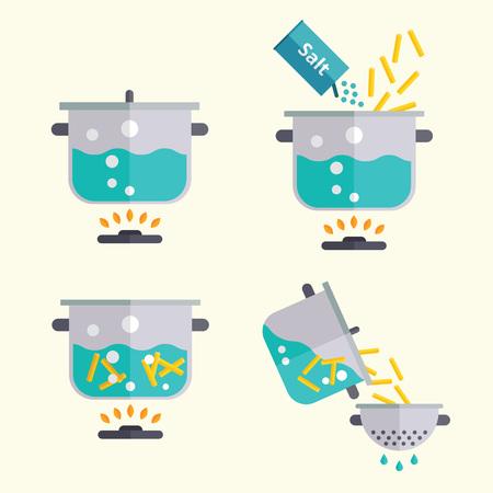 Pasta kookrecept. Spaghetti of noedels die instructie in stappen doen. Platte ontwerp handmatige vectorillustratie.