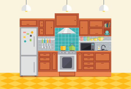 countertop: Kitchen interior vector illustration. Flat design furniture and kitchen cupboards with utensils, fridge and stove. Cartoon room for cooking and food preparation. Illustration