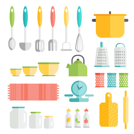 scale icon: Kitchen utensils in flat style design. Cooking kitchenware icons. Interior and food preparation tools and instruments.