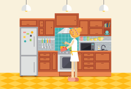 interior decoration: Young woman or girl cooking dinner in kitchen. Housewife preparing food at stove. Cartoon character inside kitchen interior at home. Flat design vector illustration.