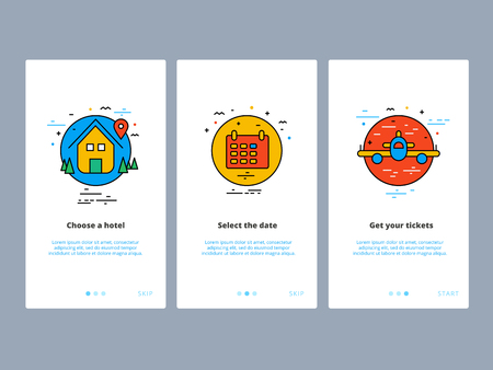 Travel and tourism onboarding screens design. Web UI GUX and UX template for mobile apps on smartphone or website. Modern illustration layout with line vector icons and elements. Illustration