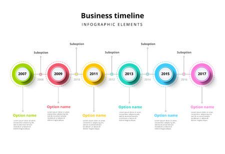 Chronologie économique dans les infographies des cercles d'étapes. Élément graphique des jalons de l'entreprise. Modèle de diaporama de présentation de l'entreprise avec des périodes d'une année. Conception moderne de la disposition du temps de l'histoire du vecteur.