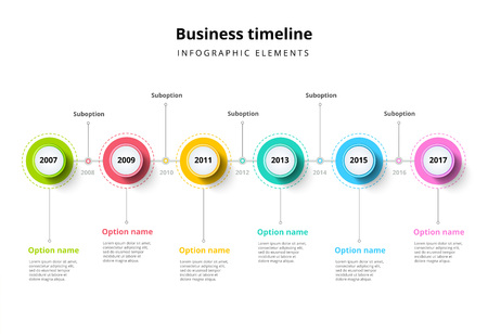 Business timeline in step circles infographics. Corporate milestones graphic elements. Company presentation slide template with year periods. Modern vector history time line layout design. Vettoriali