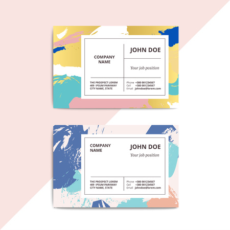 beautician: Trendy abstract business card templates. Modern luxury beauty salon or cosmetic shop layout with artistic brush stroke pattern. Vector fashion luxury background design with information sample text.