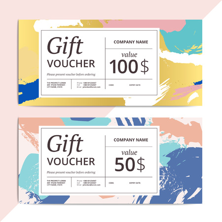 Trendy abstract gift voucher card templates. Modern luxury discount coupon or certificate layout with artistic brush stroke pattern. Vector fashion luxury background design with information sample text. Vectores