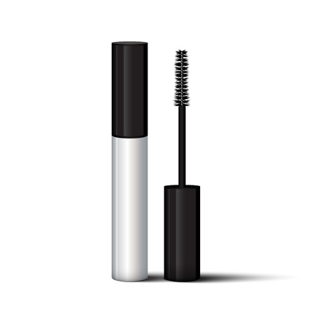 Empty mascara brush vector mock-up illustration. Realistic 3d empty white eyelash or eyecleaner package design. Luxury makeup cosmetic product container or tube in silver color isolated on white background.