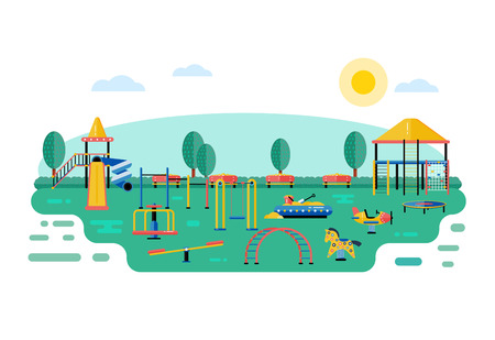 Kids playground vector landscape in flat design. Children play area devices on nature or urban park background. Kindergarten amusement toys outside. Youth sport and recreation ground equipment. Stock Illustratie