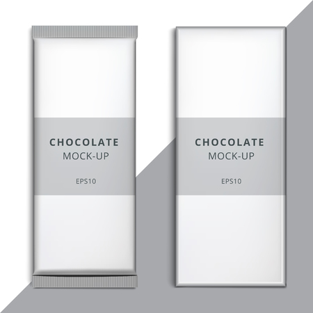 Realistic blank 3d chocolate bar template design choco packaging realistic blank 3d chocolate bar template design choco packaging vector mockup product white empty maxwellsz