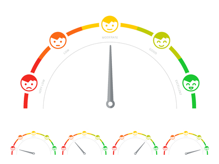 Client survey rate or meter in flat design. Customer service satisfaction score diagram or scale. Feedback gauge or speedometer with smiley like and dislike icons. Social consumer score graph. Illustration