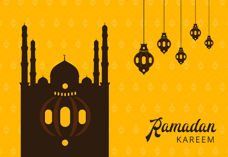 Ramadan Kareem greeting banner with arabic lamps and text. Islamic holiday poster background template design. Abstract creative vector layout with religious symbols.